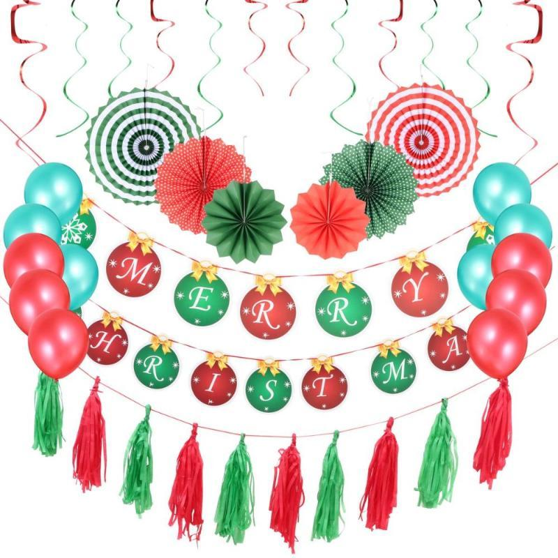 1 Set Christmas Decorations Hanging Banners Balloons Paper Fans and Spirals