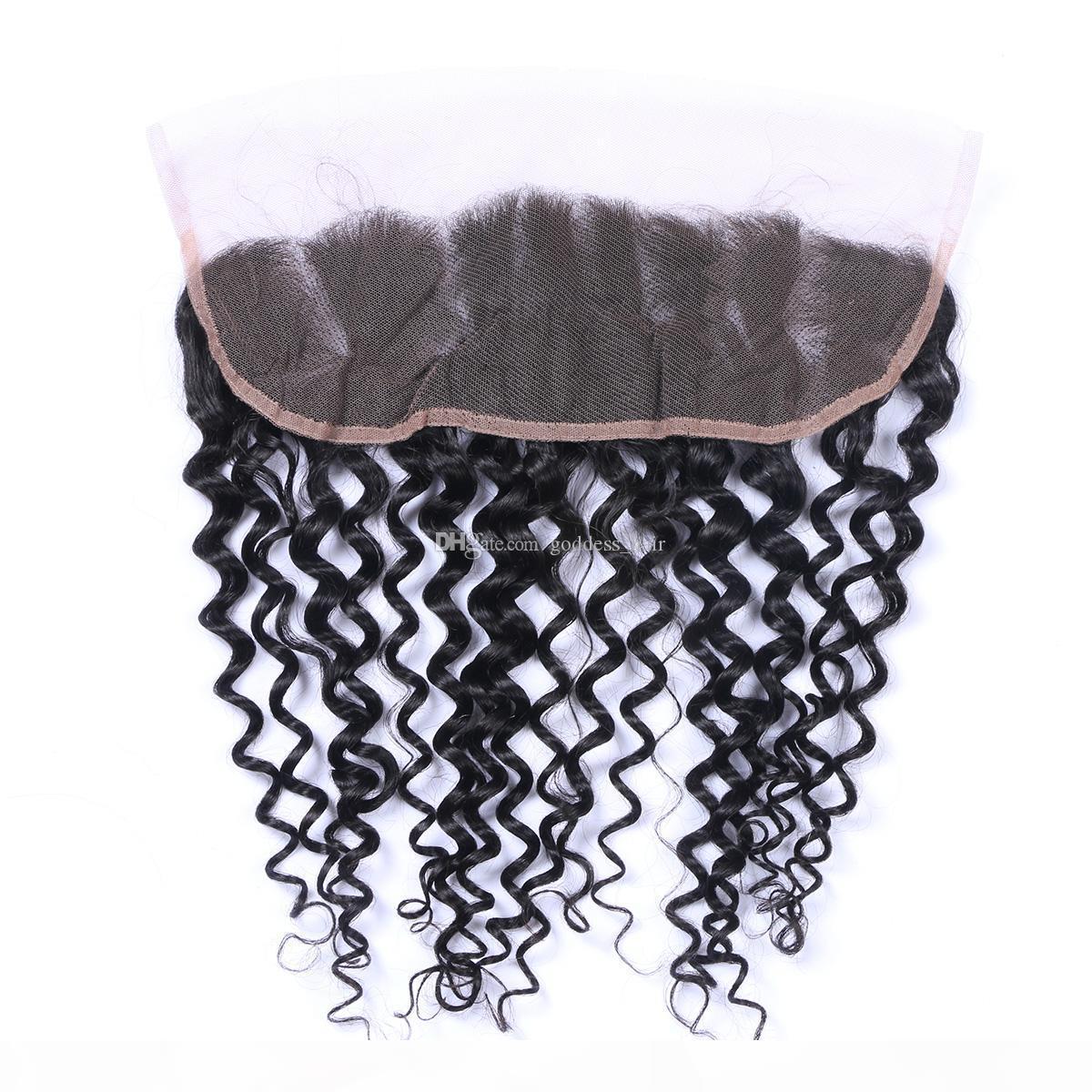 Vendita calda Brazilian Kinky Curly Lace Frontal Chiusura frontale 13x4 Chiusure frontali in pizzo full Afro Kinky Curly Lace Frontals Frontals Freesing