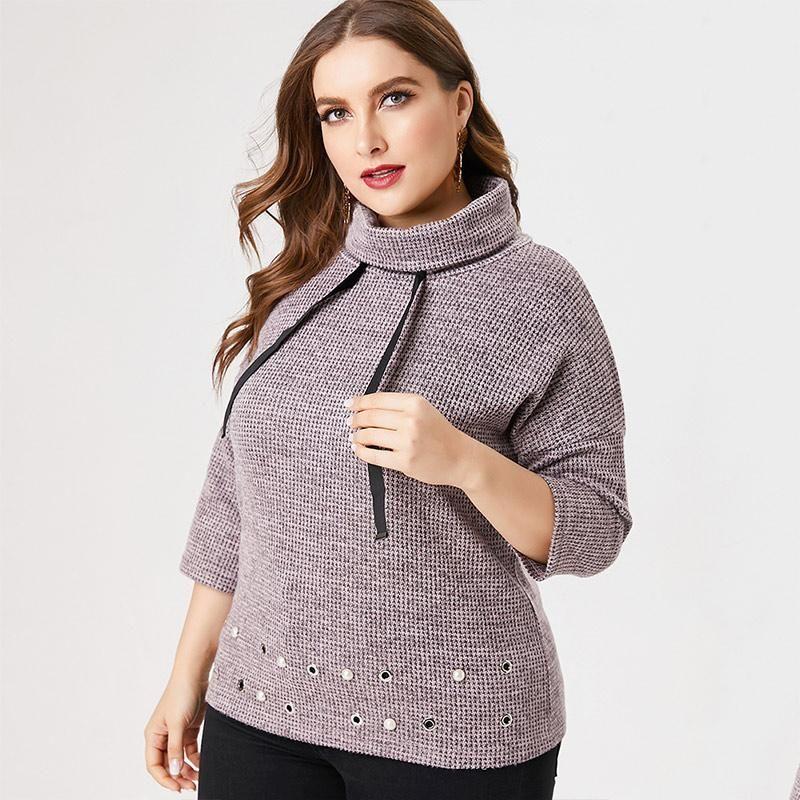Kadın T-shirt 2021 Güz Kadın Uzun Kollu Örme Stand-Up Yaka Moda Bayanlar Zarif Anne Giysileri Artı Boyutu Bayan Tops