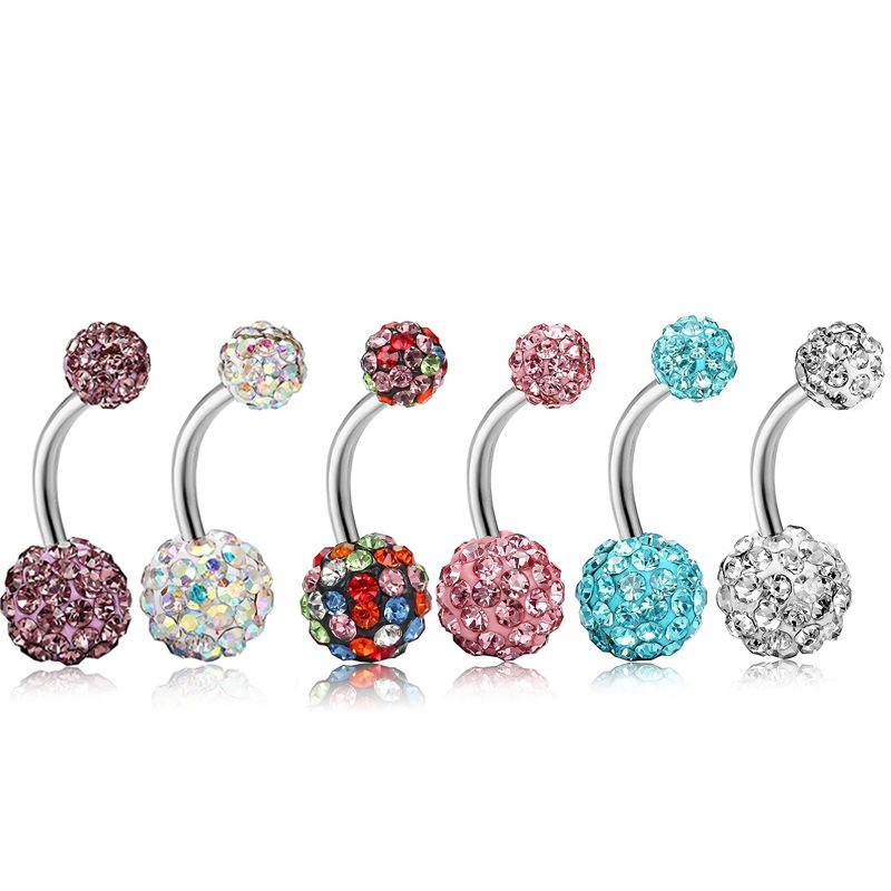 Body Body Jewelry Hot-Selling Body Acciaio inossidabile Full Diamond Pelle Diamond Diamond Anello Belly Set Anelli di Bell Bell ombreggiatura