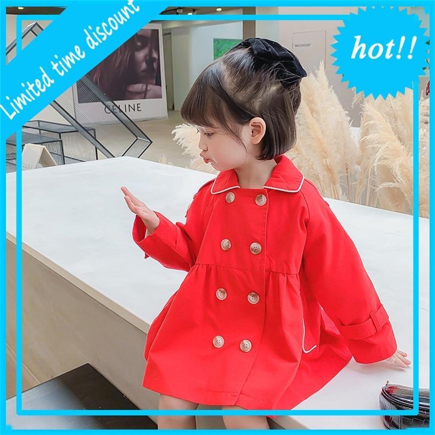 Новые Herf Spring Girls Windjack Jas 2-7yrs Детские дети сплошные пальто Дети Trenchcoat Baby Girl upwardrobe