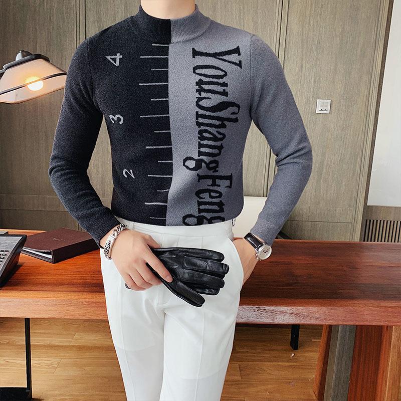 2020 Pull d'automne Hommes Contraste Couleur Lettre Couleur Turtleneck Pull Pull Homme À manches longues Casual Knitwear Tops Ropa de Hombre W1217