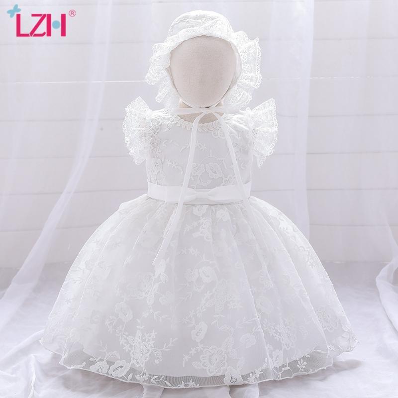 LZH Новорожденная одежда 2020 Детская принцесса платье сплошной цвет вышивки ребенка 1 год день рождения вечеринка платье младенческие девочки платье + шляпа