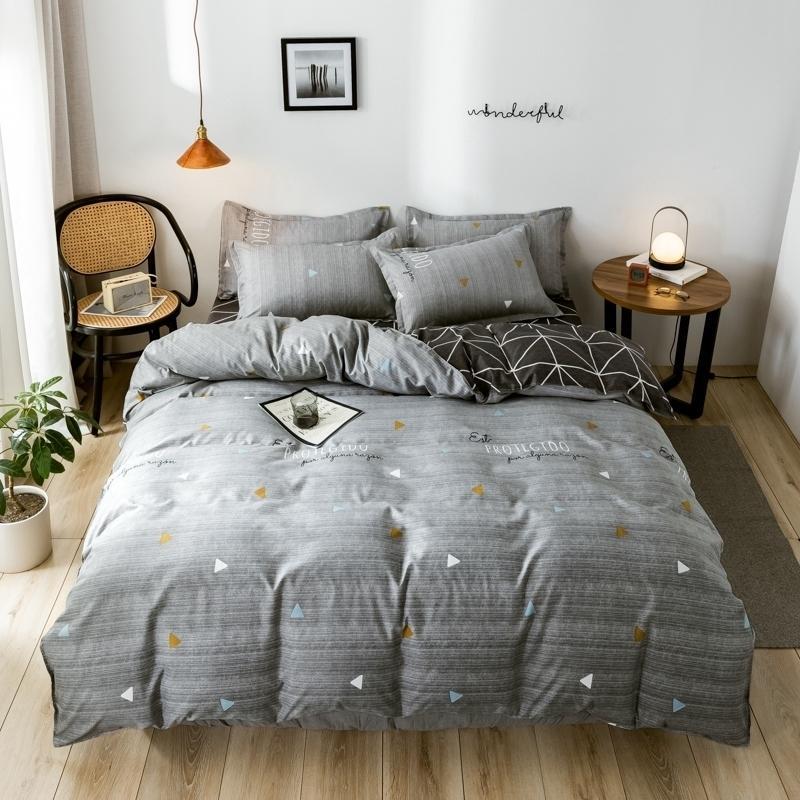 Autumn Grey Star Bettwäsche Set Pastoral Stil Suvet Cover Set Flache Blatt Geometische Leinen Leopard Bett Set AB Side Home Textile LJ201127