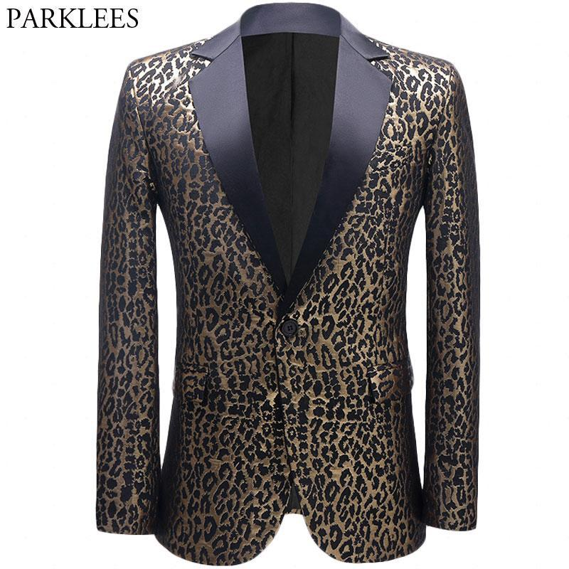 Leopard Jacquard Blazer Giacca Giacca uomo Party Dance Host Prom Mens Suit Suit Giacche Cappotto Collare Collare Tuxedo Costume Homme Blazer 5xL