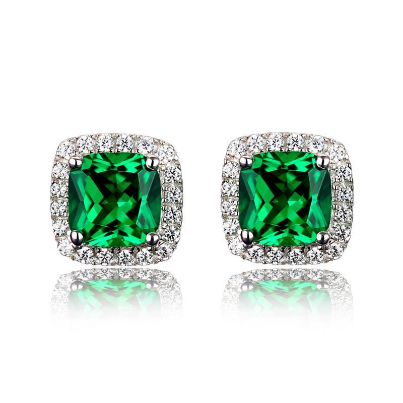 Luxury Female Emerald Green Square Pendientes Sterling Silver Rose Gold Pendientes de boda Vintage Stud Pendientes para mujeres