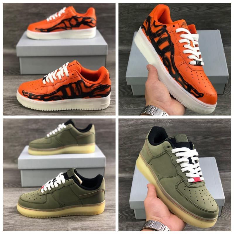 새로운 1S 할로윈 QS 여성을위한 신발 운동화 운동화 어두운 Zapatos 크기 36-45의 오렌지 해골 광선