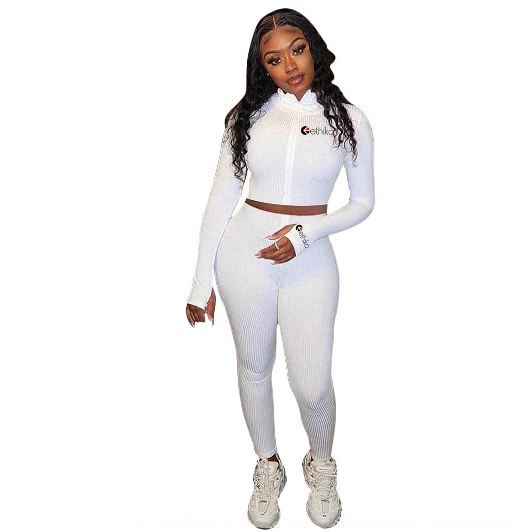 aqUD Women Two Pieces Solid Outfits Colour Bat Sleeve Top Pleated Trousers Ladies Pants Fashion New Set Sportwear Tracksuits 2020