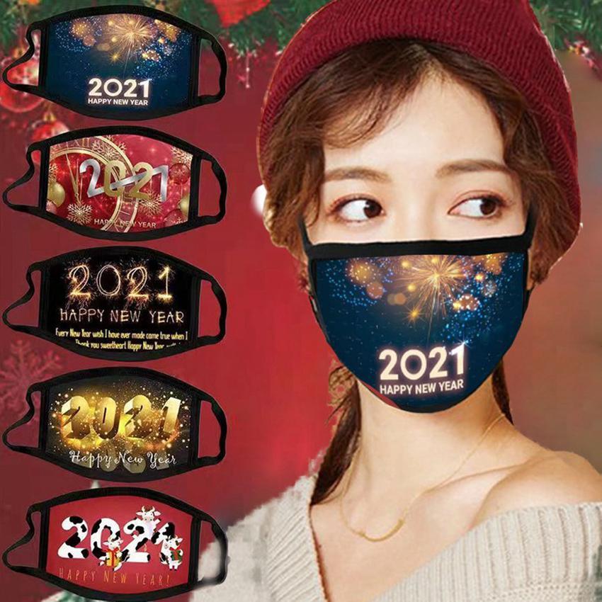 2021 Masque de visage de Noël Bonne année Facem de masque masque masque lavable lavable réutilisable masques Cyz2909 100pcs