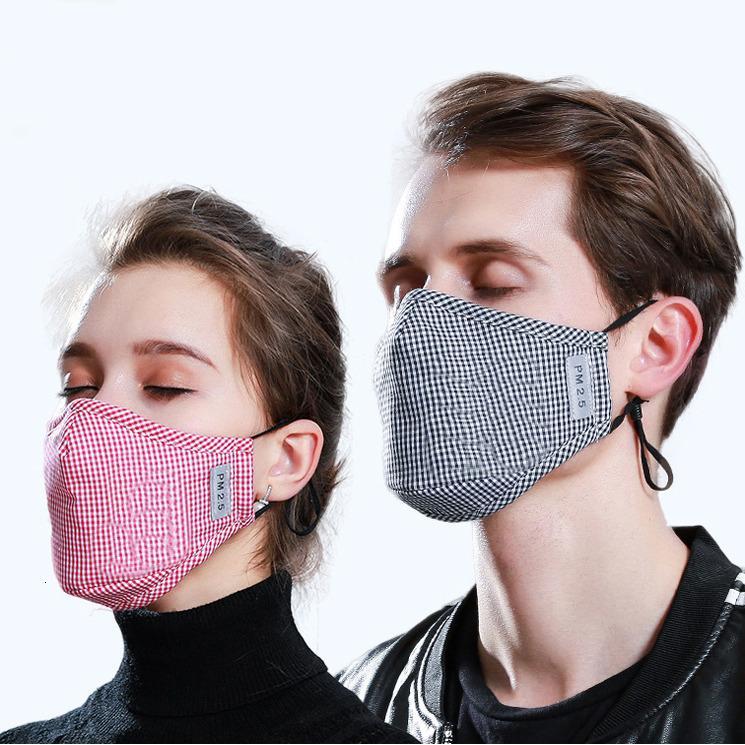 Auf Lager Baumwollstaubgerät PM2.5 Schutzmasken 5layer Filter aktivierte Kohlegesicht waschbar 11 Farbventilmaske