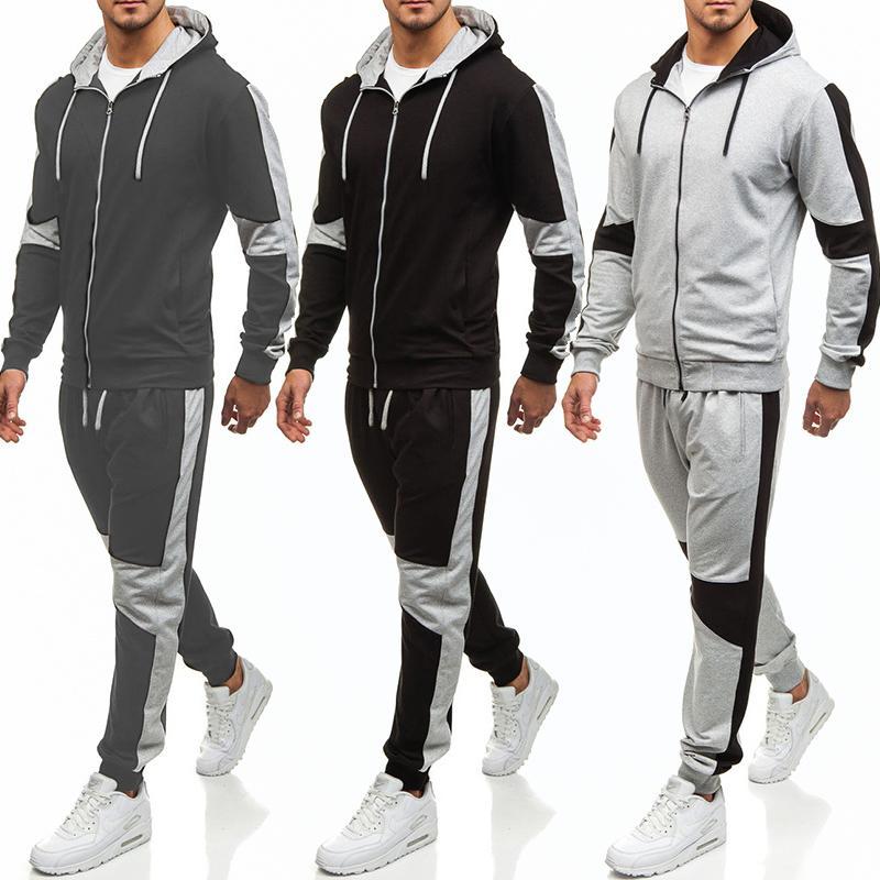 Fashion Men's Sports Traje 2020 NUEVO Sudadera con capucha sólida Pantalones casuales Pantalones Color Matching 2 piezas Set Mens Jogger Fitness Hombres Conjuntos