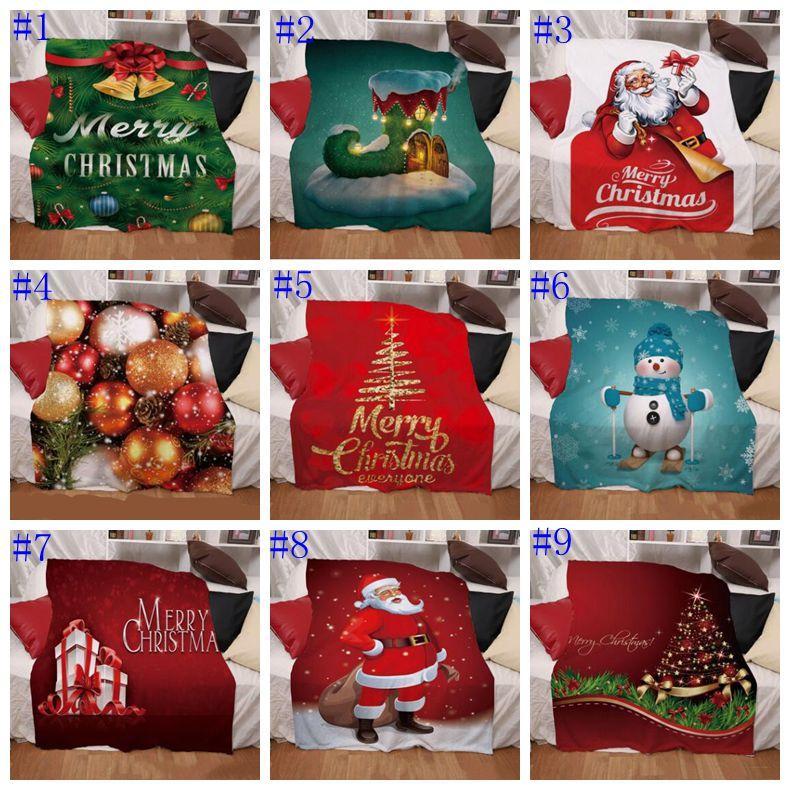 Рождество Одеяло Санта Клаус Designs Маты цифровая печать Зимний Утолщение Mat двойных слоев Бросьте Одеяла Textiles аксессуары EWC3747