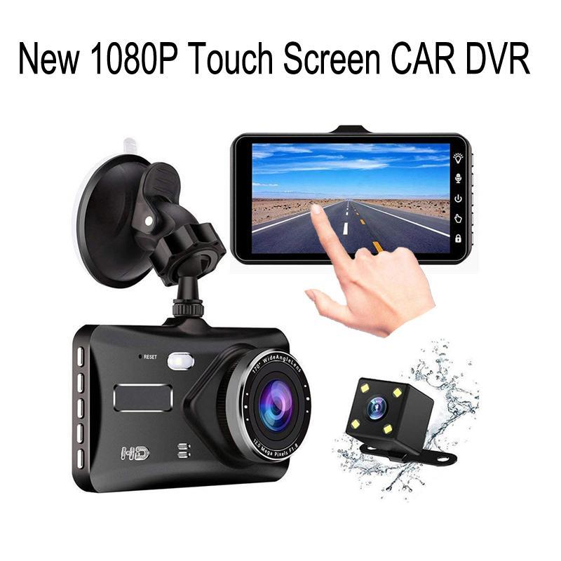 4 pulgadas de pantalla táctil de la cámara del coche HD 1080P BT100 impermeable profesional del coche DVR de doble lente gran angular de 170 ° de grabación de bucle dashcam