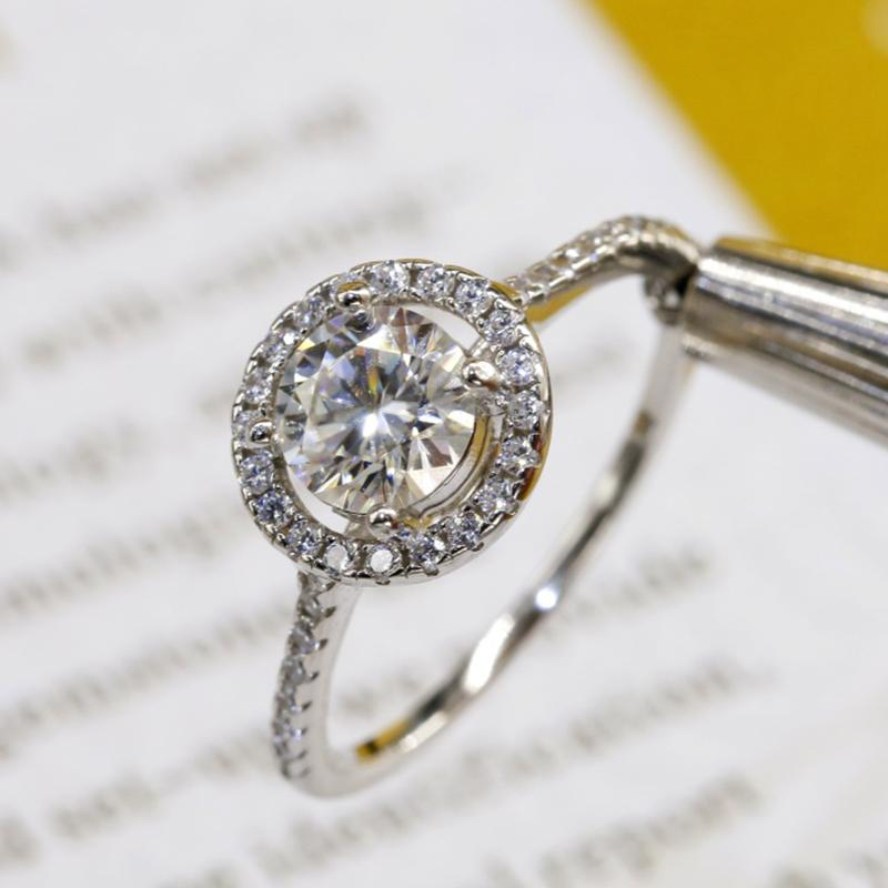 Anel Moissanite 1CT 2CT 3CT VVS Laboratório Diamante Jóias Fine para Mulheres Casamento Partido Anniversary Presente Real 925 Sterling Silver