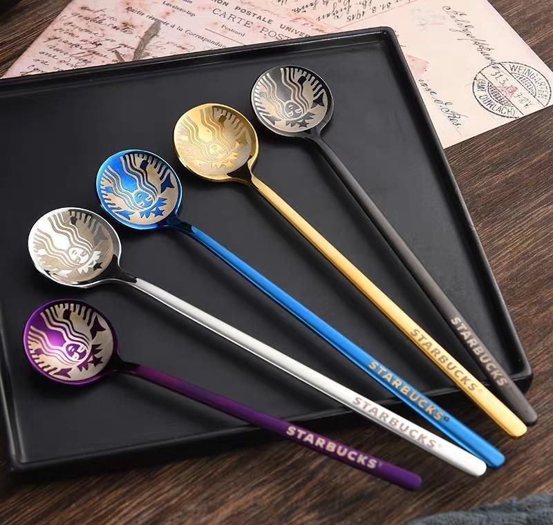 La última cuchara de Starbucks de acero inoxidable de 15x3.3cm, muchos colores, Starbucks Goddess Style Spoon, envío gratis Jllydoh Sinabag