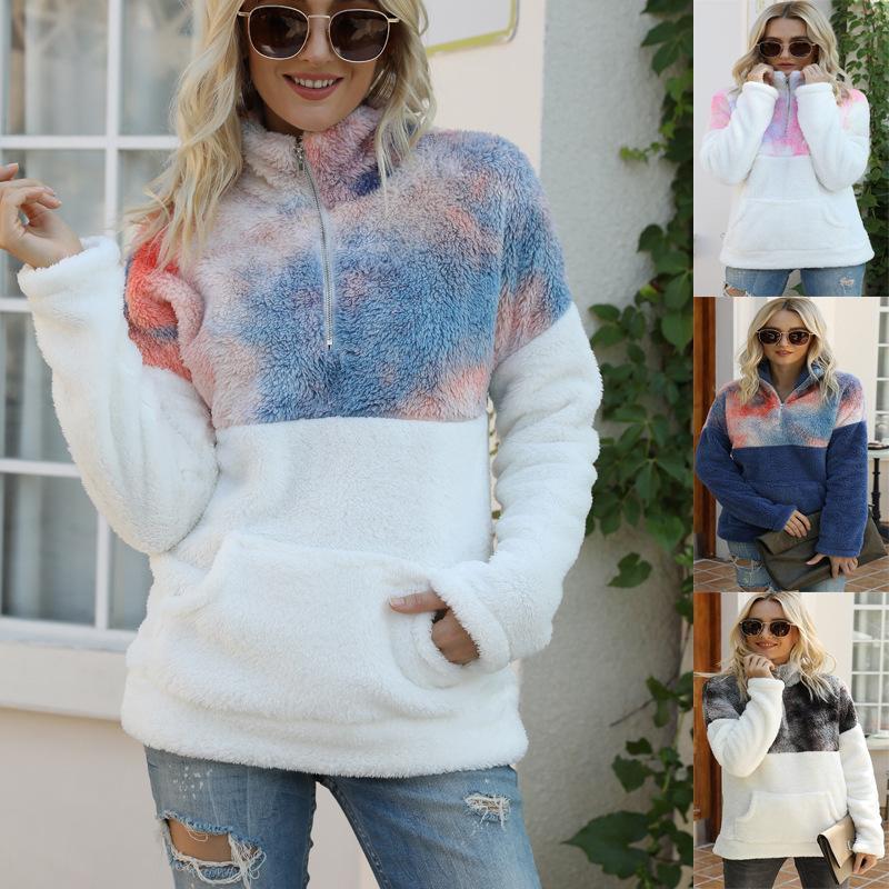 Womens Hot Selling Felpe con cappuccio Felpe Tautumn inverno nuovo stile Europa e America Tie-Dye Pocket Zipper Stand Collar Manica lunga Plus Size