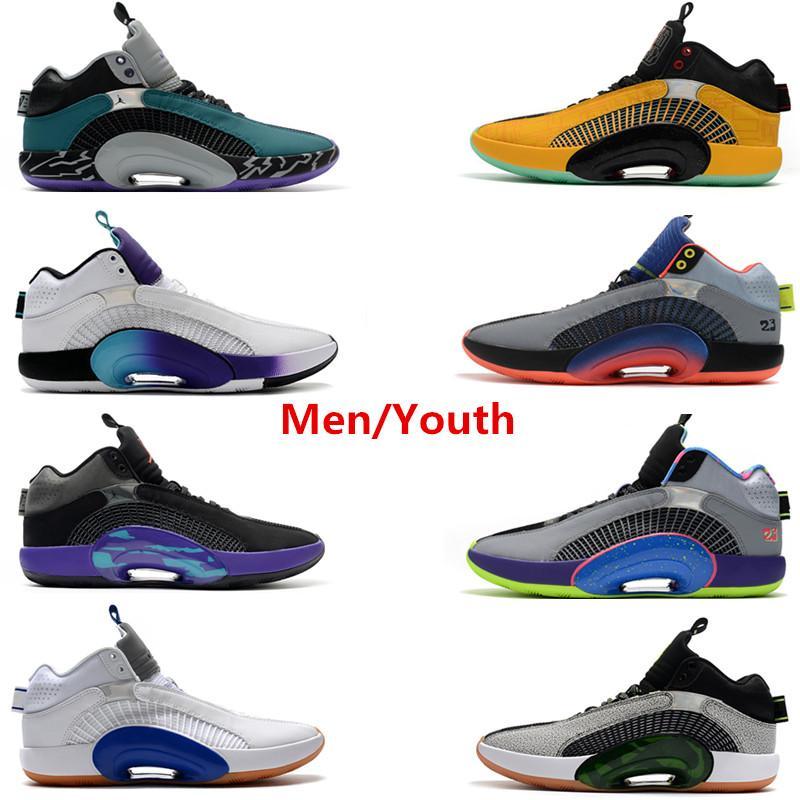 AJ35 aj Retro 2020 Erkek Ayakkabı satış tenis Gençlik spor ayakkabısı Siyah Beyaz Michael 35s Jumpman Basketbol ayakkabıları 35 gri Pembe spor ayakkabıları kırmızı