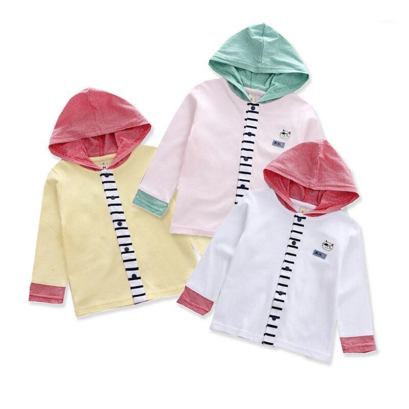 Куртки Pudcoco малыша малыша мальчики девочек одежда кнопка печатает стежка толстовки топы длинные рукава пальто верхняя одежда Осень детей Outfit1