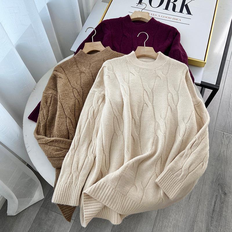 Mulheres Camisola Sólida Cor De Comprimento Médio Cabo De Malha De Fundo Sweater Outono 2020 Mulheres