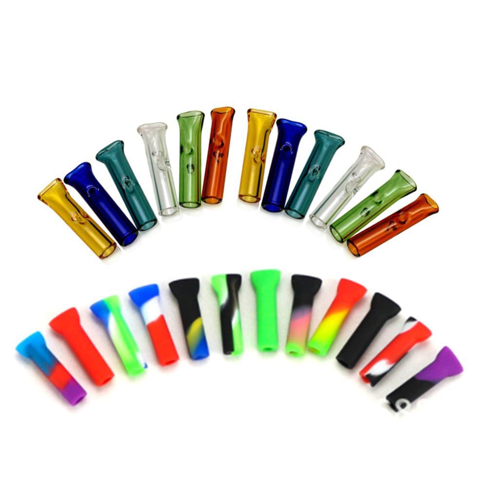 Puntas de tubo de filtro de siliconejeglas de 2 estilo con la boca redonda plana para el rollo de hierbas secas Papel de cigarrillo Pyrex Glass Tube Filter Tip DHL