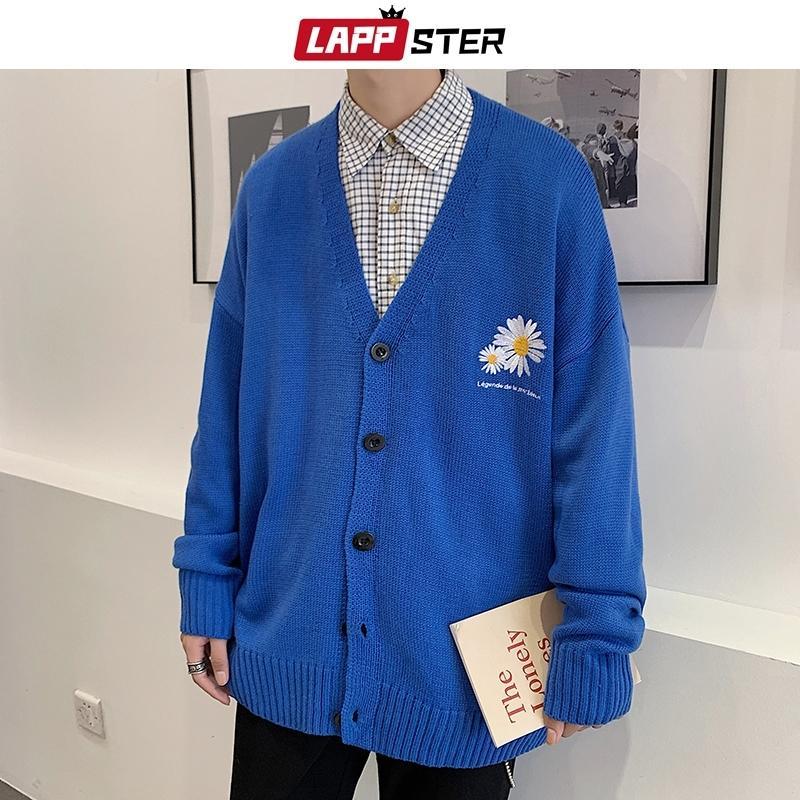 Lappster Hombres Bordado Flor Cardigan Autumn Mens Button Up Invierno Punto Suéter Masculino Azul Coreano Fashions Ropa 201023
