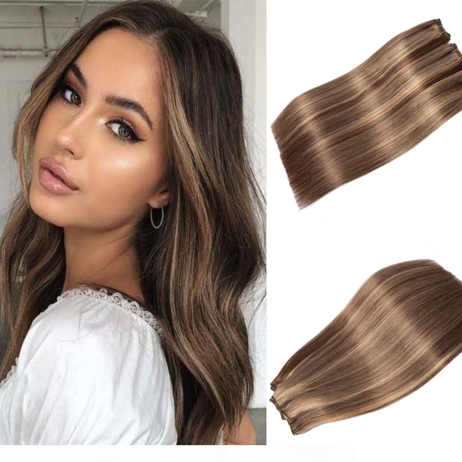 Destacados Human Hair Weave Piano Color # 4 mezclado con # 27 Virgin peruian Piano Piano Color Pein Hight Extensions 100g Bundle