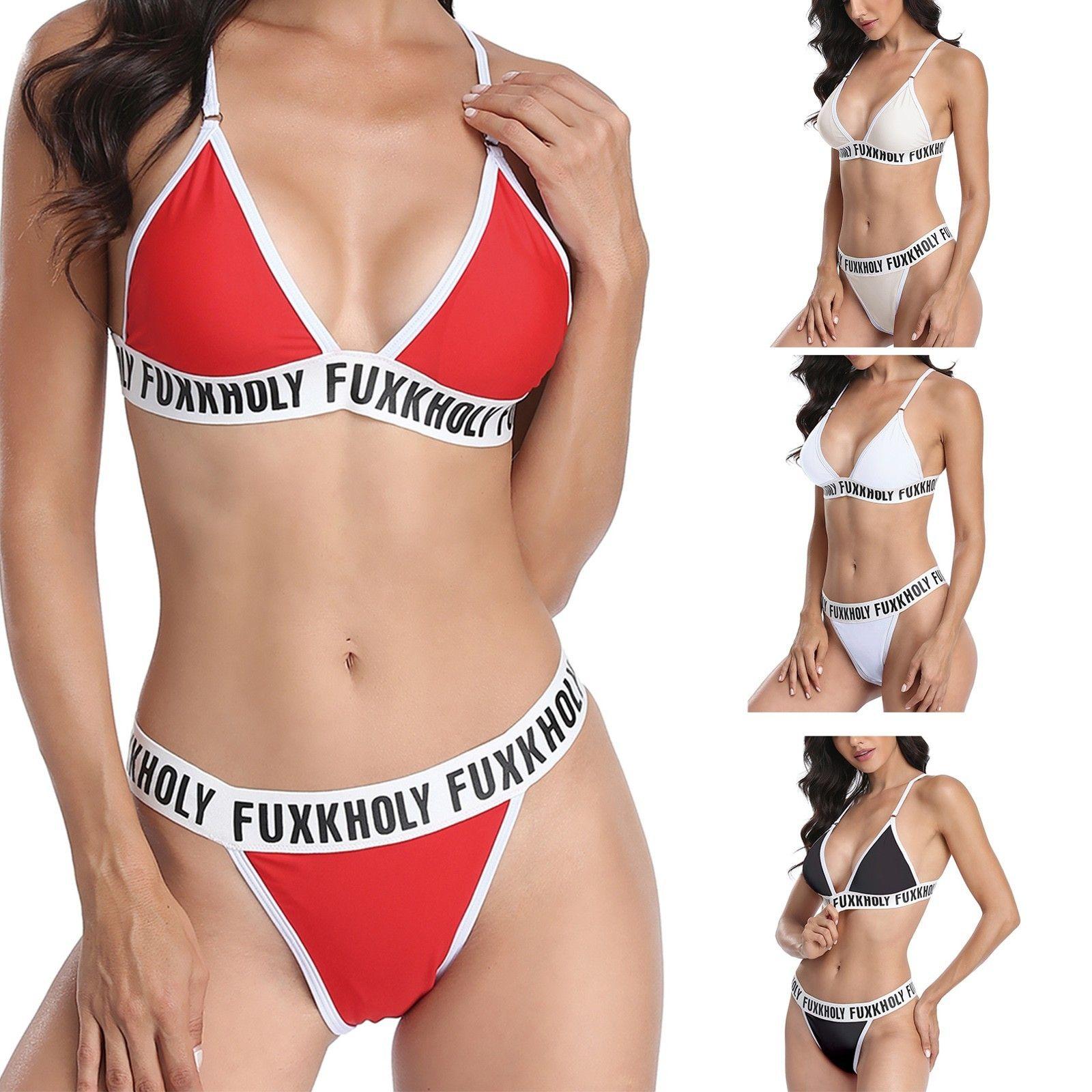 Women'sSuspender 오픈 백 스플릿 바디 수영복 여성의 섹시한 패션 슬링 편지 Fukkholy Split Swimsuit Bikini Suit 2021