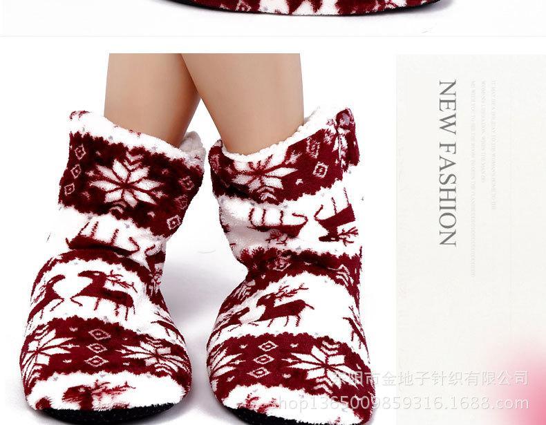 Дамы Рождественские бонсы сапоги мягкие подошвы напольные ботинки крытые противоскользящие носки напольные носки рождественские носки