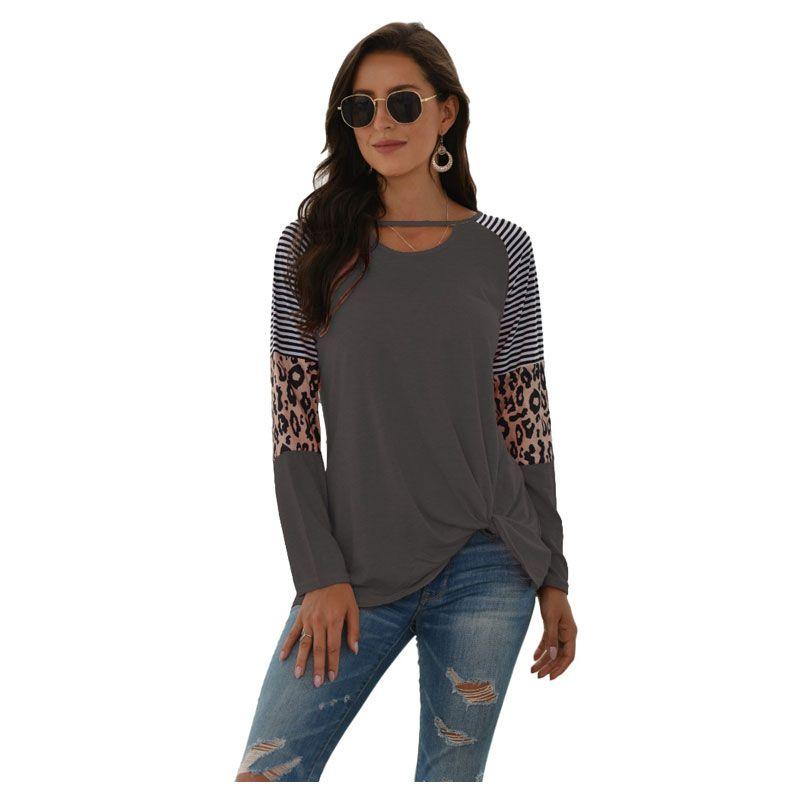 Atacado Personalizado Europeu e Americano Mulheres Inverno Novo Estilo Quente Longa Longa Leopardo Impressão Costura T-shirt Blusa