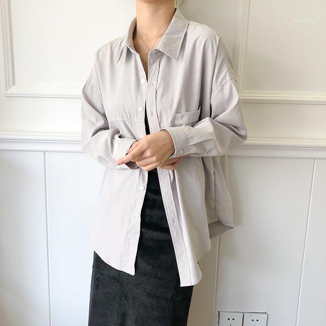Женские блузки Рубашки 2021 Осенняя хлопковая блузка Корейский с длинным рукавом и поддельные карманные женщины Blusas Roupa Feminina Tops1
