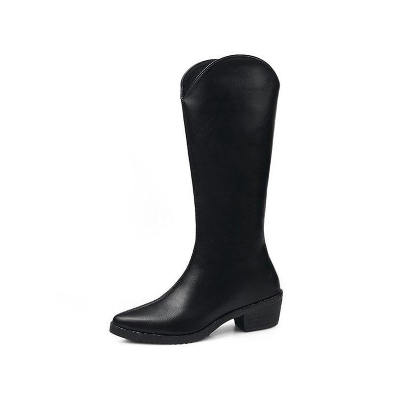 Couro de inverno Elegante Meados Bezerro Botas Mulheres Moda Quadrado Salto Quente Mais Veludo Pontilhado Toe Knight Shoes Botas de Mujer