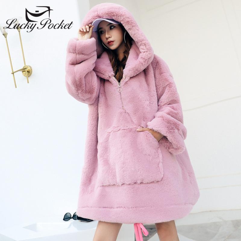 Piel de mujer Fallo de invierno suelto color sólido Abrigo de peluche femenino Moda femenina más Tamaño Talla grande Ropa exterior Cálida Gran Bolsillo Rosa ZY24