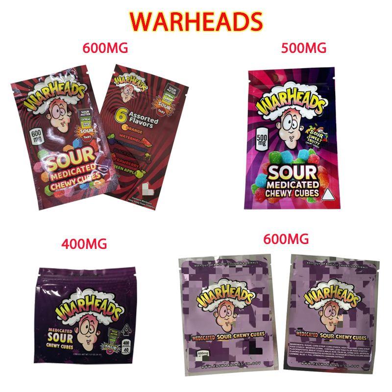 Borsa da imballaggio commestibile 4 tipi teste da guerra 400 mg 500 mg 600 mg Gummies Mylar Contenitore Container Sour Aid Medicated Cubi gommoso Sigillatura Guarnizione al dettaglio Chiusura a cerniera
