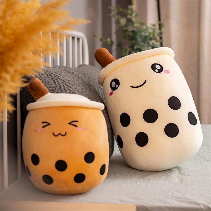25 cm Bolha Chá xícara de pelúcia em forma de travesseiro cartoon enchido almofada macia engraçada Boba alimento brinquedos de pelúcia com tubos de sucção 201222