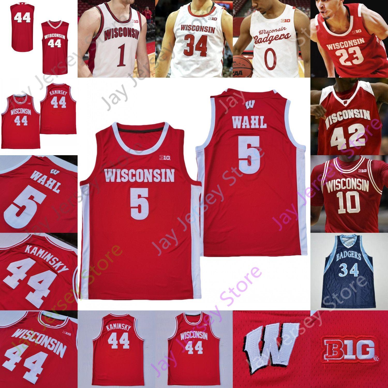 Wisconsin Badgers Basketball Jersey NCAA College King Aleem Ford Trice Brevin Pritzl Walt McGrory Finley Harris Joe Hedstrom Micah Potter