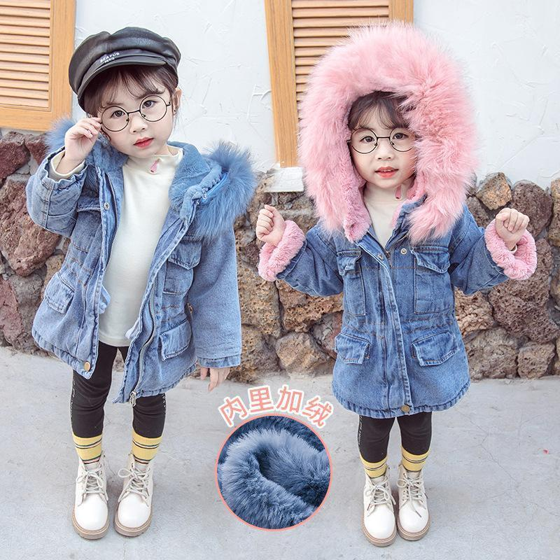 Girls Autumn and Winter Style Velvet Padded Waisted Denim Windbreaker Childrens Hooded Fur Collar Warm Jeans