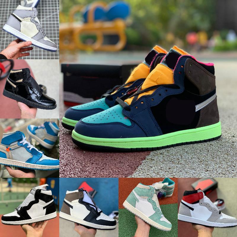 2021 Yeni 1 Basketbol Ayakkabı Erkekler Kadınlar Batik OG Bio Hack ampul Mavi UNC Patent KOYU MOCHA Çam Yeşil Korkusuz Varsity Kırmızı Tasarımcı 1s