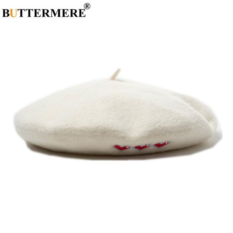 Buttermere Beret Hat Женщины Шерсть Белый Любящий Сердце Вышивка Береты Шапки для Женщин Весна Осень Французские Ретро Дамы Художник Шляпа