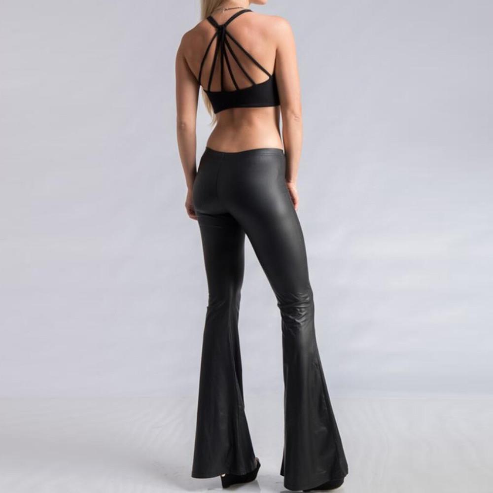 Kadın Leggins Moda Eğlence Seksi Dantel Elastik Faux Deri Tayt Flared Pantolon Jeggings Leggins Mujer S10