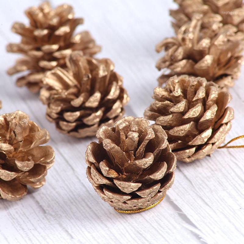 Weihnachtsdekorationen 9 teile / satz Baum Ornament Hängende Kugeln Kiefer Nüsse Pinecone Weihnachtsjahr Party Dekoration Für Home Parteien Liefert 3-4cm1