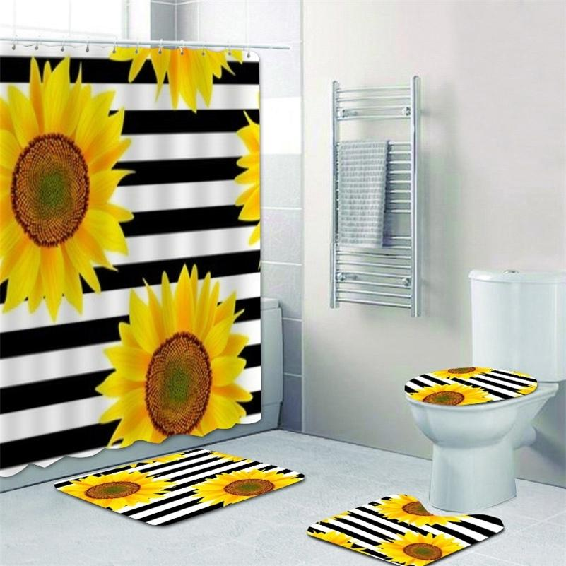 Elegante preto branco listrado cortina de chuveiro de girassol e tapete conjunto de banheiro de girassol cortinas de banheiro tapete para toalete lj201130