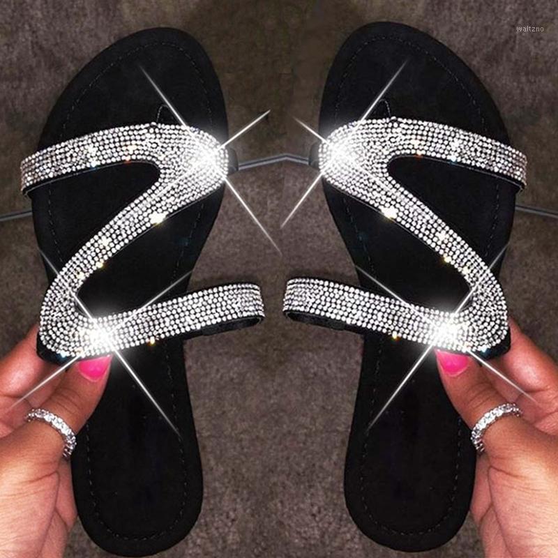 Women Slippers Summer Crystal Slides Outdoor Shoes Fashion Bling Flip Flops Femme Flat Beach Slippers Big Size 35-431