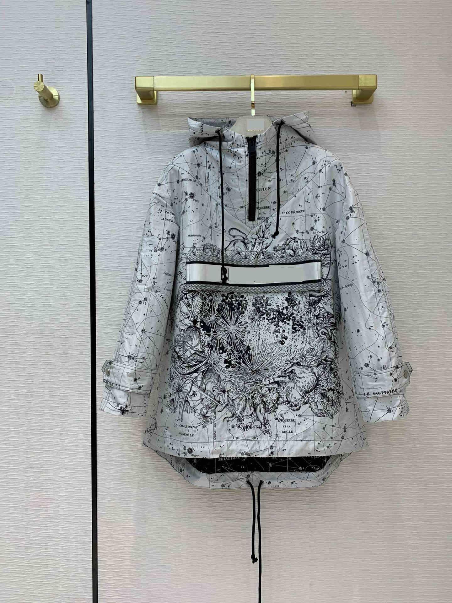 2021 Milan Pist Jean Ceket Kapüşonlu Uzun Kollu Panelli Marka Aynı Stil Jean Ceket Kadın Tasarımcı Mont 1228-31