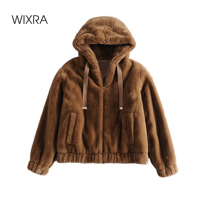Wixra Womens Casual Reißverschlüsse Pelzjacken Damen Taschen Weiche Faux Pelz Kapuze Trendy Street Style Lose Mantel Herbst Winter