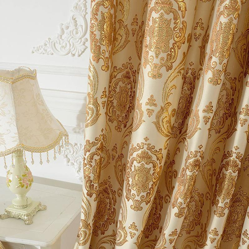 European Style Curtains For Living Dining Room Bedroom Blackout Curtains Luxury Golden Yarn-dyed Jacquard Custom Made