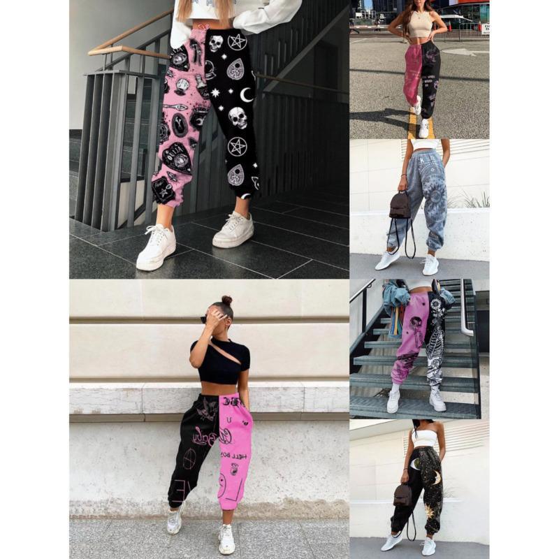 Femmes pantalons Street loisir épaissie taille élastique large jambe jambe de survêtement automne hiver imprimé dames pantalon en vrist plus taille S-4XL C0155