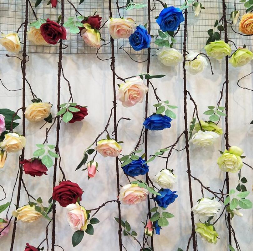 Cadena para 2pcs artificial seco Vine Rose pared de la flor de la planta de la boda del paisaje Arco materiales caseros Hotal Oficina Bar decorativo