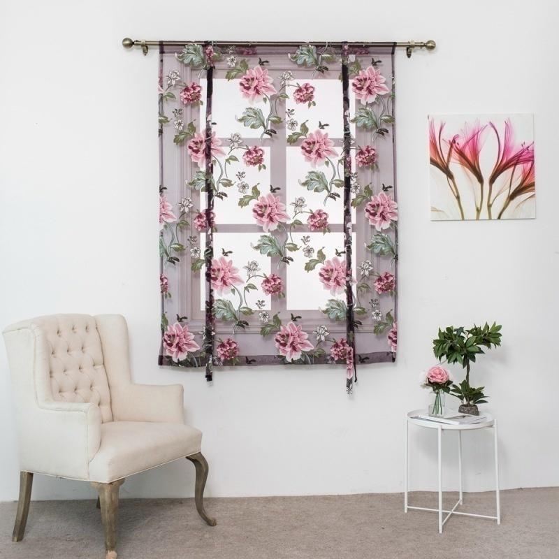 Stores floral imprimé panneau de la vitre Tulle de la fenêtre de traitement de la fenêtre de traitement de la porte de la maison décor à la maison Rideaux abrégés 60 * 120cm / 80 * 120cm