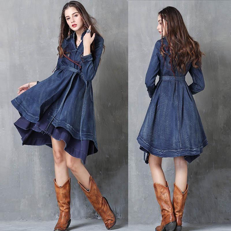 شحن مجاني 2020 جديد أزياء طويلة خندق فستان للنساء خمر الدينيم قميص طويل الأكمام s-l التطريز معاطف مع حزام
