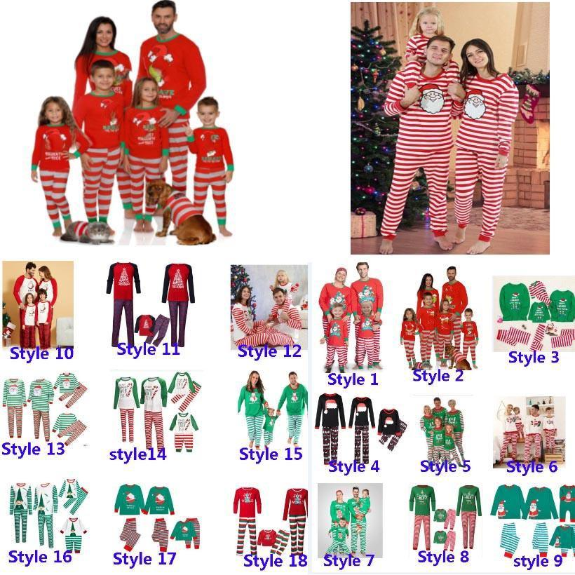 크리스마스 키즈 소년 소녀 성인 가족 일치 크리스마스 사슴 스트라이프 잠옷 잠옷 잠옷 잠옷 Pajamas 부모 - 자식 잠옷 파티 HH9-3304